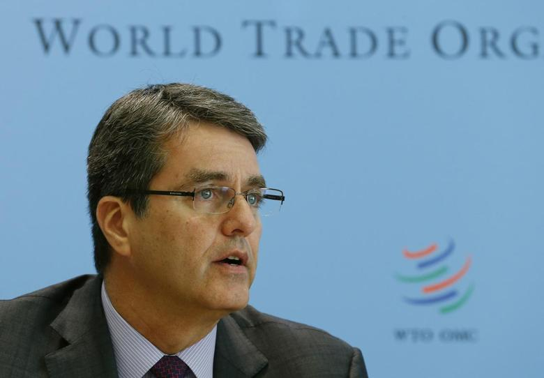 World Trade Organization (WTO) Director-General Roberto Azevedo attends a news conference on world trade in 2013 and prospect for 2014 in Geneva April 14, 2014. REUTERS/Denis Balibouse