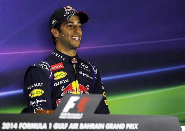 Red Bull Formula One driver Daniel Ricciardo of Australia speaks during a news conference after the qualifying session of the Bahrain F1 Grand Prix at the Bahrain International Circuit (BIC) in Sakhir, south of Manama April 5, 2014. REUTERS/Hamad I Mohammed