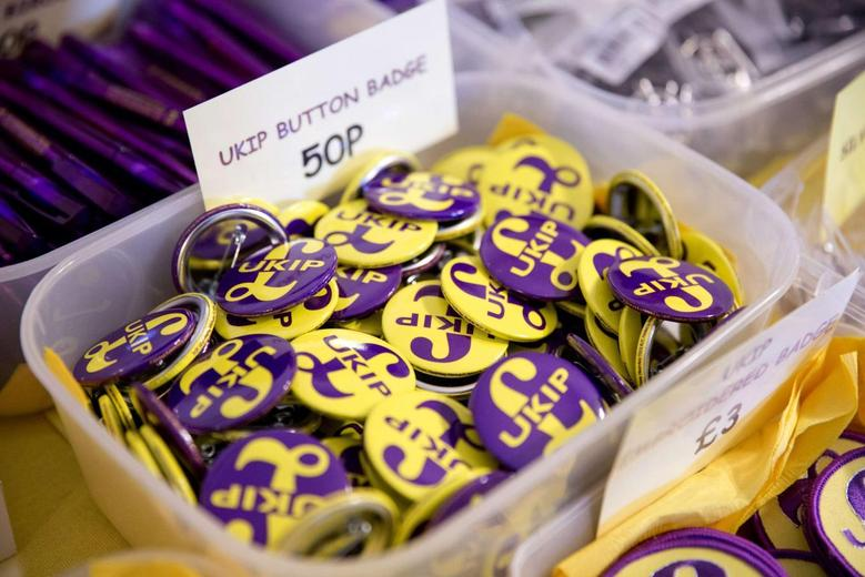 Button badges are seen for sale at the UK Independence Party's (UKIP) annual conference in central London September 21, 2013. REUTERS/Neil Hall