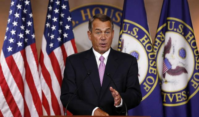 U.S. Speaker of the House John Boehner answers a question during his weekly news conference on Capitol Hill in Washington, March 26, 2014. REUTERS/Larry Downing