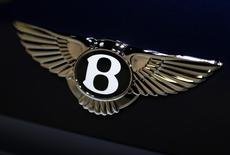 The logo on the back of a Bentley Motors vehicle is seen at the 2013 Los Angeles Auto Show in Los Angeles, California November 20, 2013. REUTERS/Mike Blake