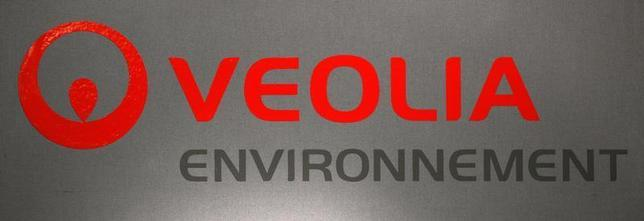The logo of French utility group Veolia is pictured during the company's 2011 annual results in Paris March 1, 2012. REUTERS/Jacky Naegelen
