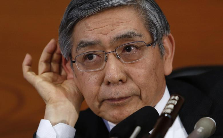 Bank of Japan Governor Haruhiko Kuroda gestures as he listens to questions from a reporter during a news conference at the BOJ headquarters in Tokyo February 18, 2014. REUTERS/Yuya Shino