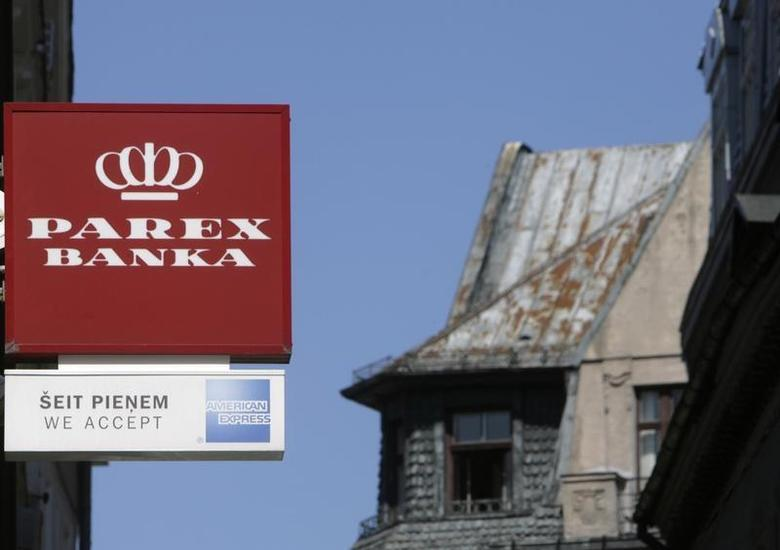 A Parex bank logo is seen in Riga July 29, 2009. REUTERS/Ints Kalnins