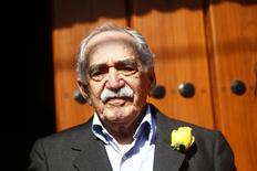 Colombian author Gabriel Garcia Marquez stands outside his house on his 87th birthday in Mexico City March 6, 2014. REUTERS/Edgard Garrido