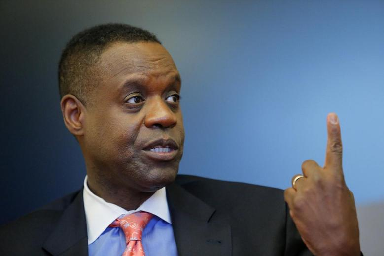 Detroit's emergency manager Kevyn Orr gestures as he speaks during an interview with Thomson Reuters in New York April 9, 2014. REUTERS/Eduardo Munoz