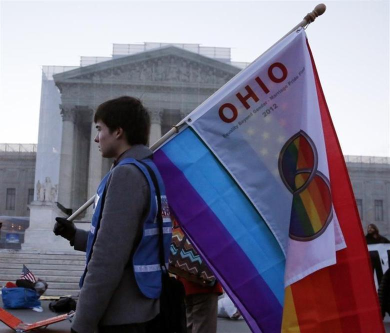 A protester from Ohio carries a flag outside of the U.S. Supreme Court in Washington, March 26, 2013. REUTERS/Jonathan Ernst