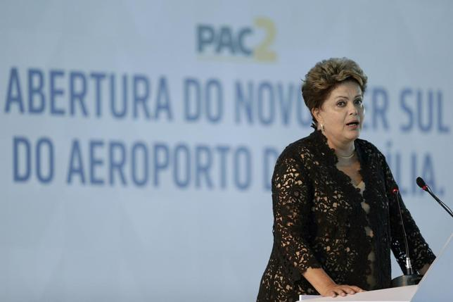 Brazil's President Dilma Rousseff attends the inauguration ceremony for the South Pier of the Juscelino Kubitschek International Airport in Brasilia April 16, 2014. REUTERS/Ueslei Marcelino