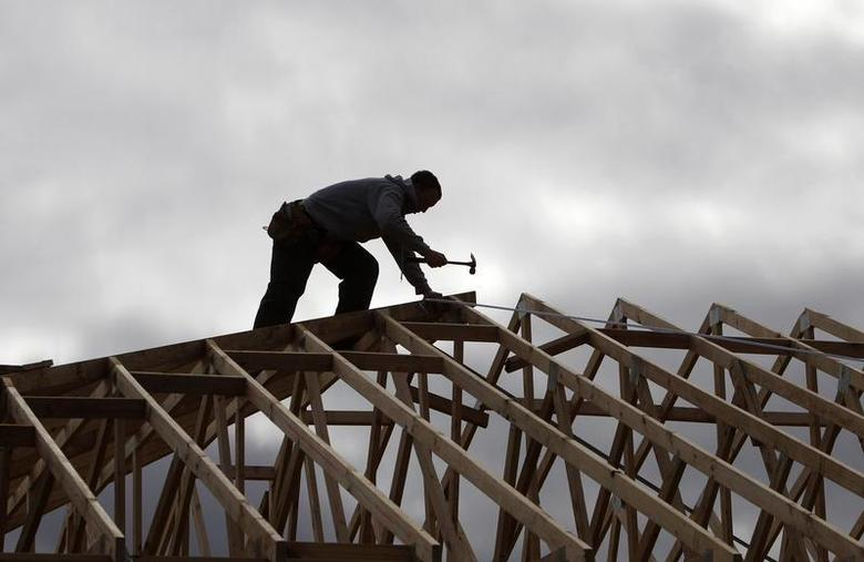 A tradesman uses a hammer on the framework of a new house on the outskirts of Melbourne August 3, 2010. REUTERS/Mick Tsikas