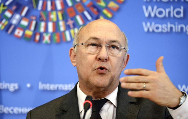 France's Finance Minister Michel Sapin makes remarks during a press briefing during the IMF and World Bank 2014 Annual Spring Meetings in Washington, April 12, 2014. REUTERS/Mike Theiler