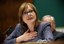 GM Chief Executive Officer Mary Barra testifies during a House Energy and Commerce hearing on Capitol Hill in Washington April 1, 2014. REUTERS/Kevin Lamarque