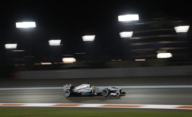 Mercedes Formula One driver Nico Rosberg of Germany drives during the second practice session of the Abu Dhabi F1 Grand Prix at the Yas Marina Circuit in Abu Dhabi November 1, 2013. REUTERS/Steve Crisp