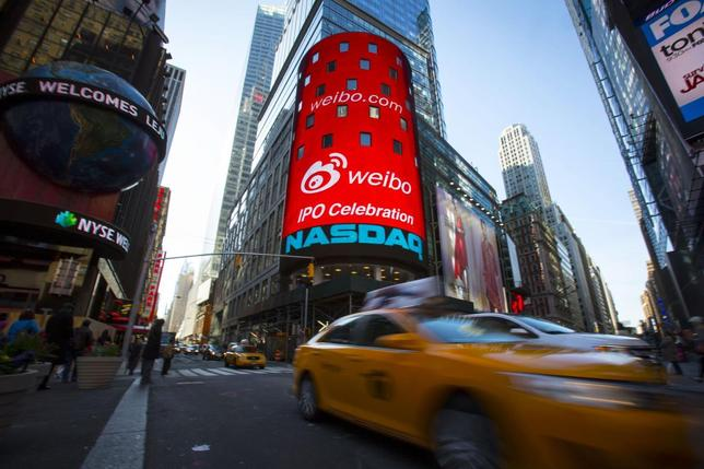 The Weibo logo is seen at the NASDAQ MarketSite in Times Square in celebration of its initial public offering (IPO) on The NASDAQ Stock Market in New York April 17, 2014. REUTERS/Andrew Kelly