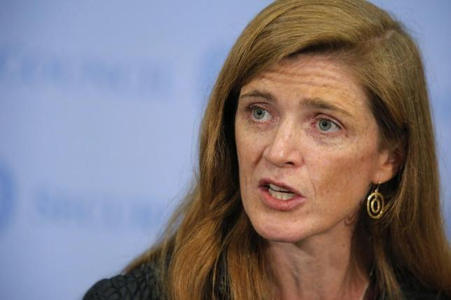 U.S. ambassador to the United Nations Samantha Power speaks to the media after voting on a resolution approving U.N. peacekeepers for Central African Republic, at the U.N. headquarters in New York, April 10, 2014. REUTERS/Eduardo Munoz
