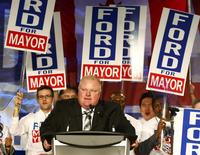 REFILE - CORRECTING GRAMMAR Toronto Mayor Rob Ford addresses supporters on the podium during his campaign launch party in Toronto, April 17, 2014. REUTERS/Mark Blinch