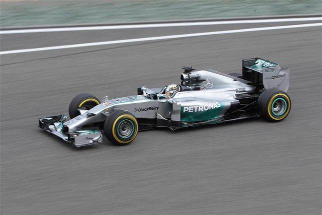Mercedes Formula One driver Lewis Hamilton of Britain drives during the second practice session of the Chinese F1 Grand Prix at the Shanghai International circuit, April 18, 2014. REUTERS/Aly Song