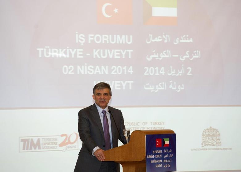 Turkey's President Abdullah Gul speaks at the Turkey-Kuwait Business Forum in Kuwait City April 2, 2014. REUTERS/Stephanie McGehee