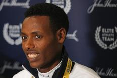 Defending Boston Marathon champion Lelisa Desisa of Ethiopia answers questions at a news conference in Boston, Massachusetts April 18, 2014. REUTERS/Brian Snyder