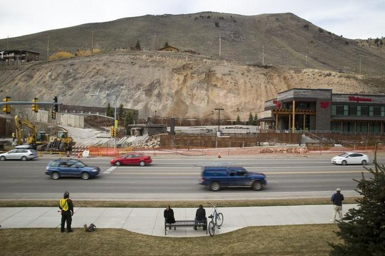 A slow-moving landslide is seen as it threatens several homes and businesses in Jackson Hole, Wyoming in this picture taken April 17, 2014. REUTERS/David Stubbs