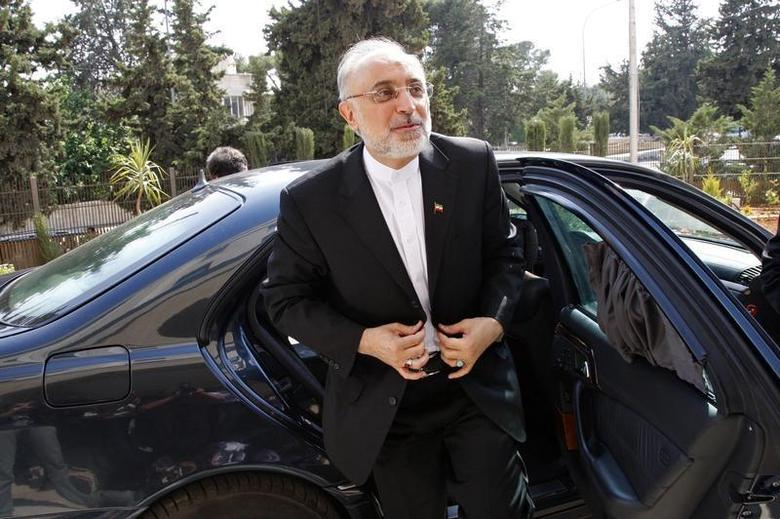 Former Iranian Foreign Minister Ali Akbar Salehi reacts upon his arrival to attend the official opening ceremony for the new headquarters of the Iranian embassy in Amman, May 7, 2013. REUTERS/Majed Jaber