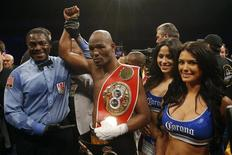 Apr 19, 2014; Washington, DC, USA; Bernard Hopkins celebrates after his split decision victory over Beibut Shumenov at DC Armory. Mandatory Credit: Geoff Burke-USA TODAY Sports