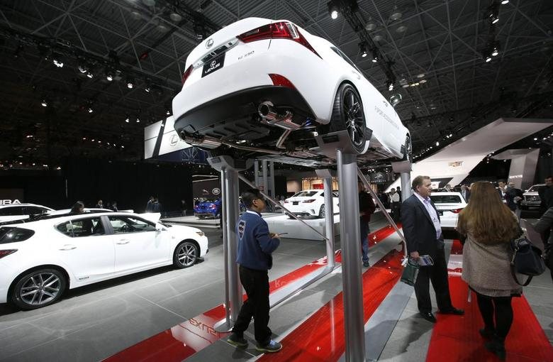 A Lexus IS 250 is seen on an elevated display at the New York International Auto Show in New York City, April 16, 2014. REUTERS/Mike Segar