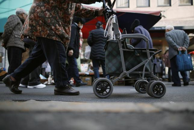 An elderly woman pushes a walking aid as she walks on a street at Tokyo's Sugamo district, an area popular among the Japanese elderly, in Tokyo December 4, 2013. REUTERS/Issei Kato