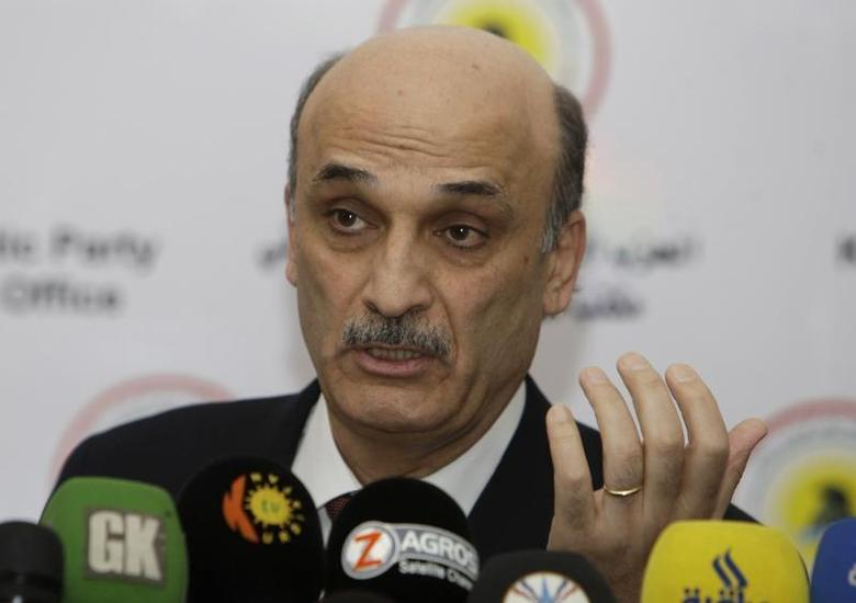 Samir Geagea, leader of the Christian Lebanese Forces, speaks at a news conference during his visit to Arbil, about 350 km (220 miles) north of Baghdad January 15, 2012. REUTERS/Azad Lashkari