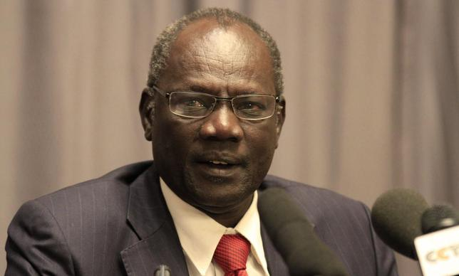 South Sudan's Information Minister Michael Makuei Leuth, spokesperson of the South Sudanese government, addresses a news conference during South Sudan's negotiation talks in Ethiopia's capital Addis Ababa, January 5, 2014. REUTERS/Tiksa Negeri