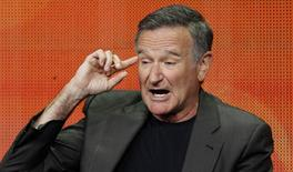 """Cast member Robin Williams speaks at a panel for the television series """"The Crazy Ones"""" during the CBS portion of the Television Critics Association Summer press tour in Beverly Hills, California July 29, 2013. REUTERS/Mario Anzuoni"""