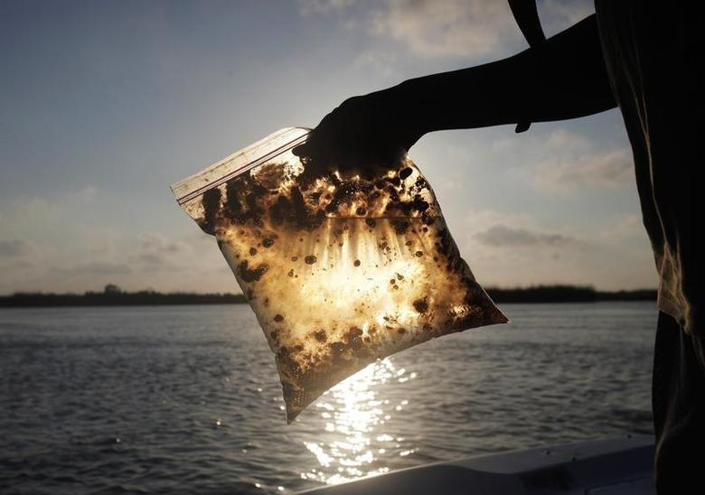 A man holds a plastic bag with oil from the Gulf of Mexico oil spill south of Freemason Island, Louisiana May 7, 2010. REUTERS/Carlos Barria