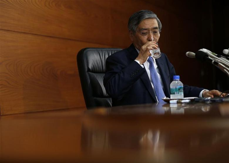 Bank of Japan Governor Haruhiko Kuroda drinks a glass of water during a news conference at the BOJ headquarters in Tokyo April 8, 2014. REUTERS/Issei Kato