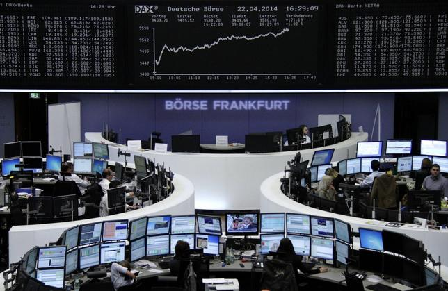 The curve of the German share price index DAX board is pictured at the Frankfurt stock exchange April 22, 2014. REUTERS/Remote/Stringer