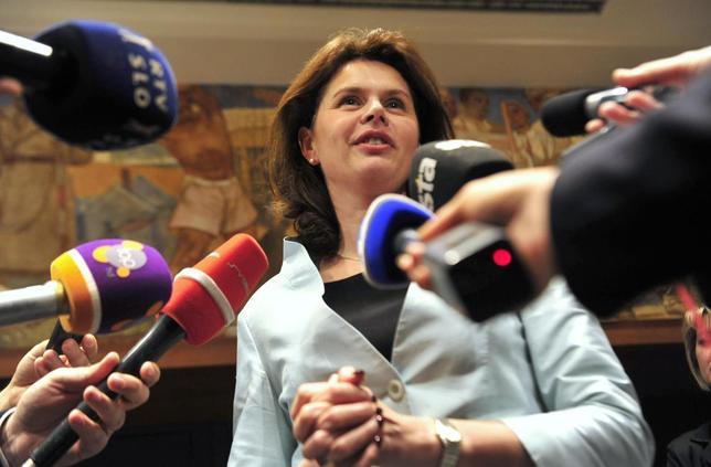 Slovenia's Prime Minister Alenka Bratusek speaks with the media after parliamentary voting session over budget in Ljubljana November 15, 2013. REUTERS/Srdjan Zivulovic