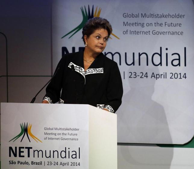 Brazil's President Dilma Rousseff attends the opening ceremony for the NETmundial: Global Multistakeholder Meeting on the Future of Internet Governance conference in Sao Paulo April 23, 2014. REUTERS/Nacho Doce