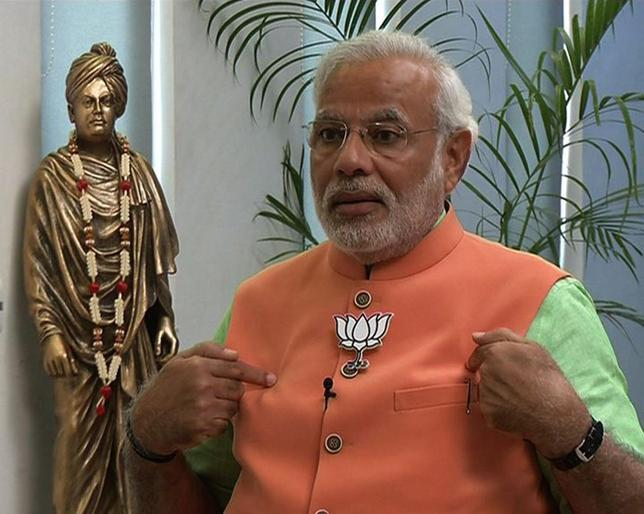 Hindu nationalist Narendra Modi, the prime ministerial candidate for India's main opposition Bharatiya Janata Party (BJP), speaks during an interview with the ANI television service at Gandhinagar in the western Indian state of Gujarat in this still image taken from video April 16, 2014. REUTERS/ANI/Handout via Reuters