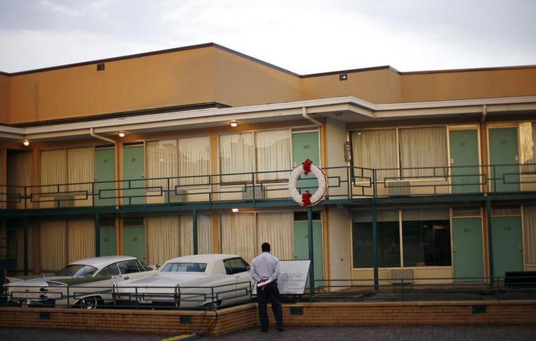 A man looks at the Lorraine Motel, which is now a part of the National Civil Rights Museum, where Reverend Dr. Martin Luther King Jr. was assassinated in 1968 in Memphis, Tennessee, April 3, 2008. REUTERS/Mike Segar