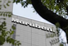 A logo of Japanese trading house Marubeni Corp is seen on the company's headquarters in Tokyo May 29, 2012. REUTERS/Yuriko Nakao