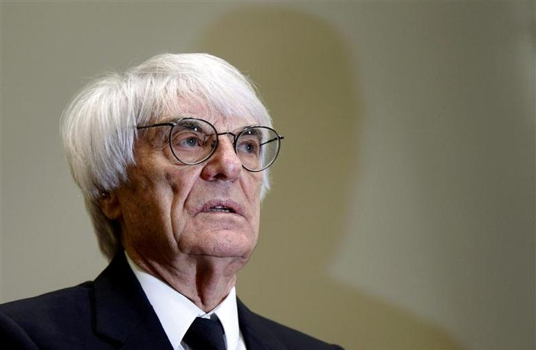 Formula One chief executive Bernie Ecclestone arrives at court in Munich April 24, 2014. REUTERS/Matthias Schrader/Pool
