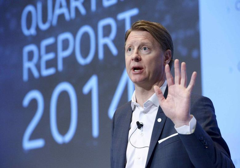 Ericsson Chief Executive Hans Vestberg speaks during a news conference at the company's headquarter in Stockholm April 23, 2014. REUTERS/Janerik Henriksson/TT News Agency