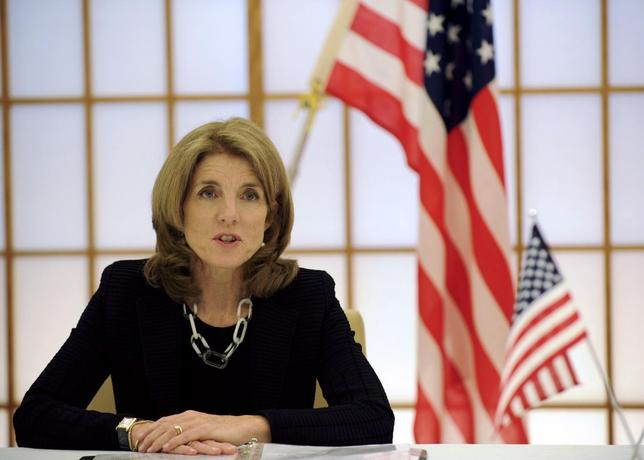U.S. Ambassador to Japan Caroline Kennedy delivers a speech during a signing ceremony to extend the agreement on cooperation in research and development in science and technology between the U.S. and Japan, at the foreign ministry in Tokyo April 23, 2014. REUTERS/Toshifumi Kitamura/Pool