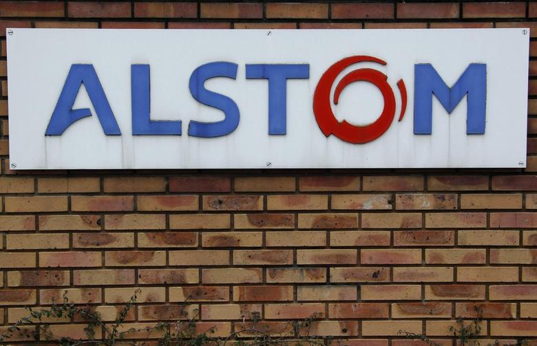 The logo of French power and transport engineering company Alstom is pictured on a wall of the company's plant in Reichshoffen near Haguenau, North Eastern France, January 21, 2014. REUTERS/Vincent Kessler