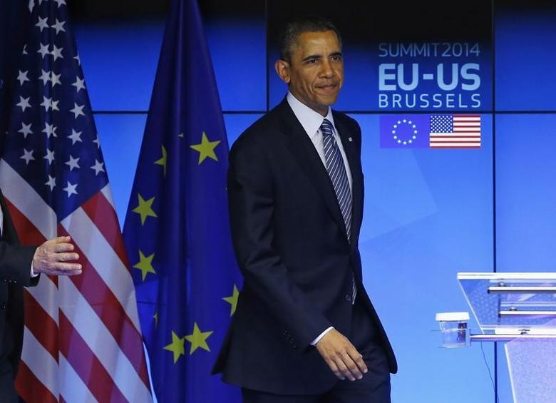 U.S. President Barack Obama takes part in a EU-US summit in Brussels March 26, 2014. REUTERS/Yves Herman