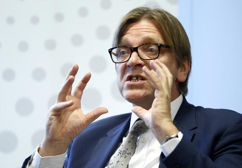 Guy Verhofstadt, former Belgian prime minister and leader of the liberals in the European Parliament, takes part in a debate on the future of Europe and the European Union at Thomson Reuters office in Brussels December 5, 2013. REUTERS/Yves Herman
