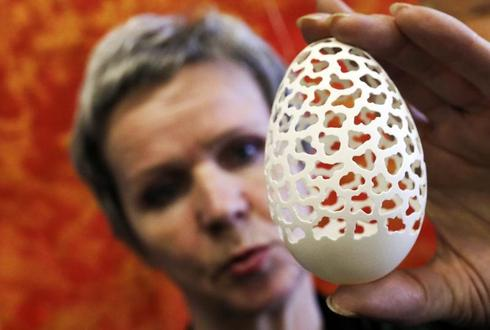 Elaborately carved eggs