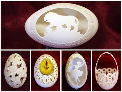 Elaborately carved eggs