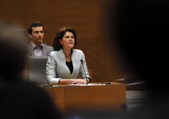 Slovenia's Prime Minister Alenka Bratusek reacts during parliamentary voting session over budget in Ljubljana November 15, 2013. REUTERS/Srdjan Zivulovic
