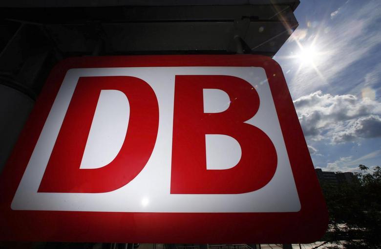 A Deutsche Bahn logo is pictured at the main train station in Mainz August 13, 2013. REUTERS/Ralph Orlowski