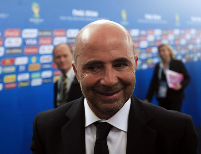 Chile's coach Jorge Sampaoli arrives for the draw for the 2014 World Cup at the Costa do Sauipe resort in Sao Joao da Mata, Bahia state, December 6, 2013. REUTERS/Ricardo Moraes