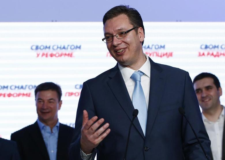 Aleksandar Vucic addresses the media at the party's headquarters in Belgrade March 16, 2014. REUTERS/Marko Djurica